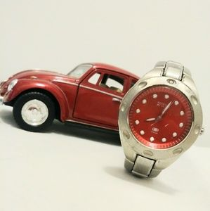 Fossil Red Face Silver Analog Wrist Watch